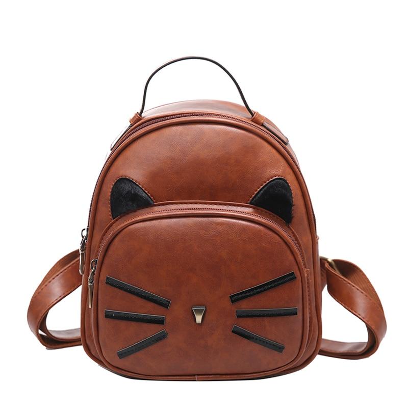 Cat Ear Design Vintage PU Leather Backpack Women Glitter Backpack For Teenage Girls Mini School Bags Ladys Small Travel Backbag
