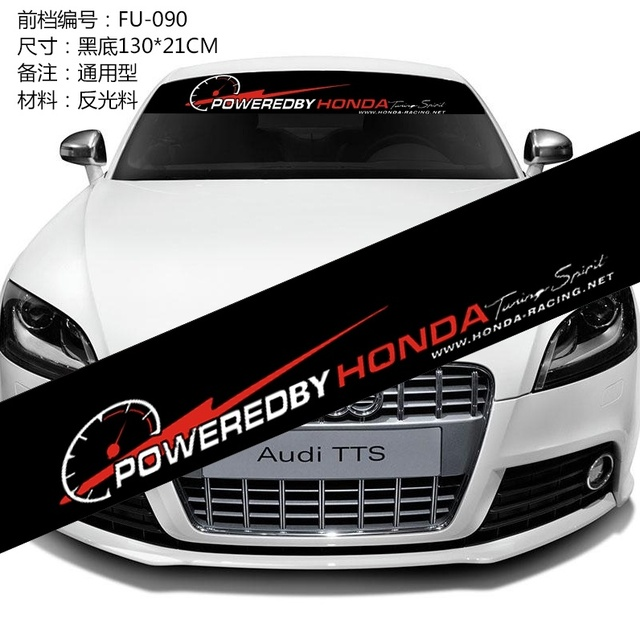 For Honda Windshield Decals Stickers Sport Powered Decals Car - Front window decals for trucks