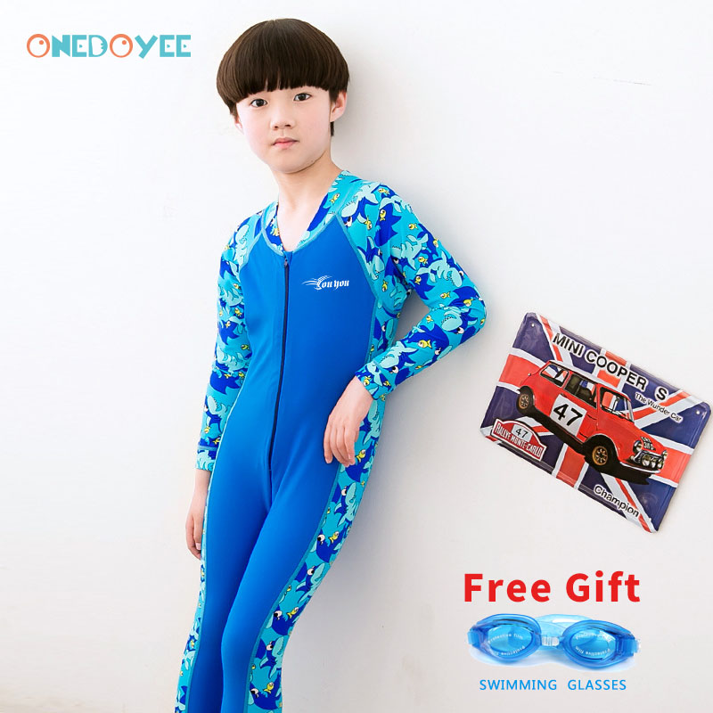 ONEDOYEE Boys Girls Swimsuits Long Sleeve Kids Bathing Suits Children Beach Wear Diving Swimming Suit boys One Piece Swimwear
