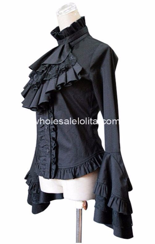 Черный Королевский Flare рукавом Кружево Готическая Лолита Блузка Лолита рубашка шифон Кружевная рубашка 4XL 5XL 6XL для продажи