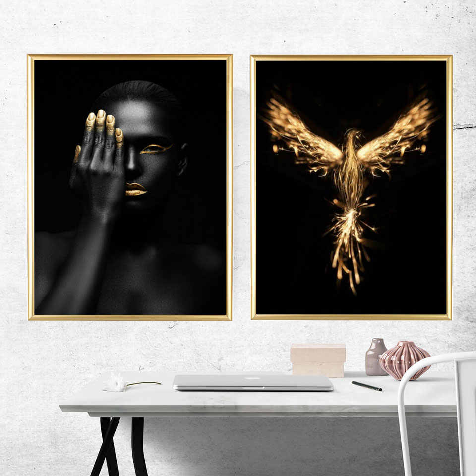 Gold finger Figure Painting Prints Golden Bird Pineapple Posters Abstract Wall Art Pictures For Living Room Modern Home Decor