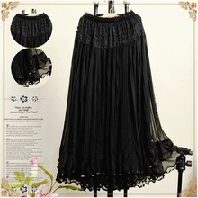 Manufacturer Price Fashion Bohemian Princess pleated Skirt 8 Colors Amazing lace Long Skirt High Quality(China)