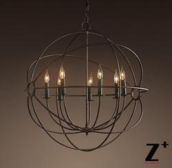 Przemysłowe średnica 50 cm 5 światła 1920 S FOUCAULT'S ORB żyrandol w stylu Vintage żelazna klatka na całym świecie Świecznik