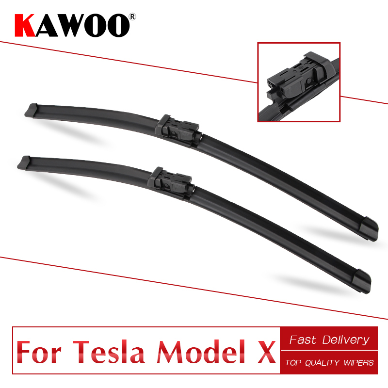 KAWOO For Tesla Model X 28 18 2016 2017 2018 Car Accessories Windscreen Wiper Blades Natural Rubber Fit Push Button Type Arms