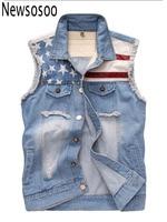 2017 fashion summer style Men's Vest Casual Slim American Flag Denim Sleeveless blue Jacket hole mens Vest Outerwear & Coats