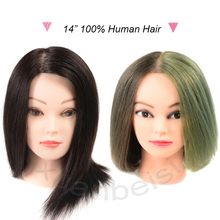14 Professional Styling Dummy Head 100%Human Hair Training For Beauty Academy Practice Curl Dye Cut Hairdressing