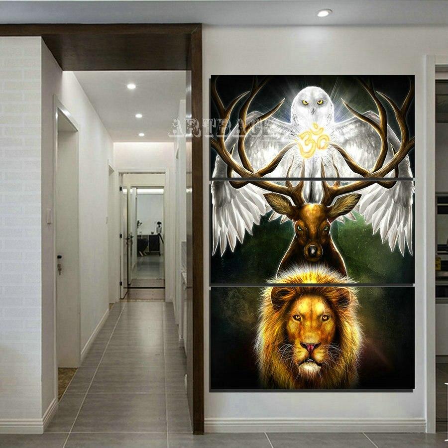 Vente 3 pièces/ensemble 5d diamant peinture lion cerf hibou plein carré foret animal 3d bricolage diamant point de croix modèle