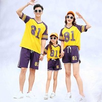 Family outfits family look 81 Blue Purple 2019 Summer mother daughter father son cotton T shirts & short pants 2pcs/sets