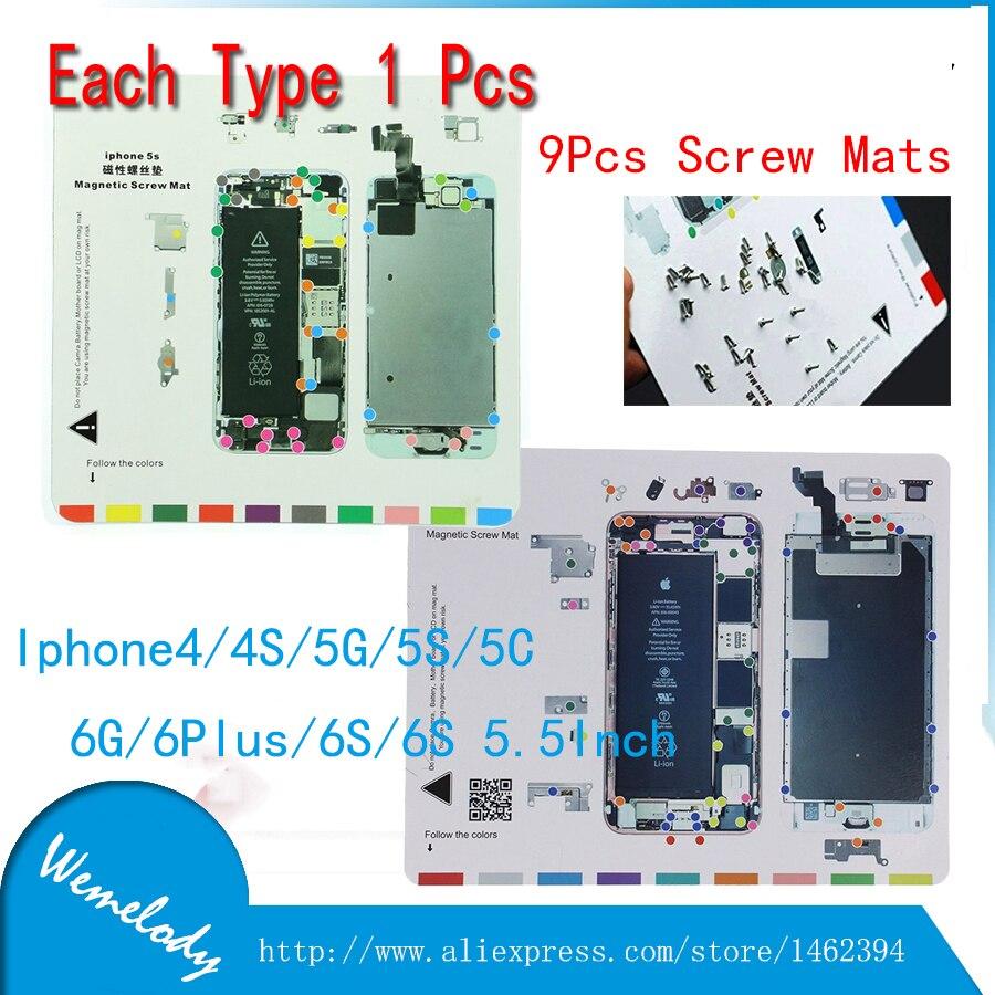9pcs hand Mobile Phone Magnetic Mat 20*25cm Screw work Mat plate Repair Tool For iphone 4 /4g/4S/5/5S/5c/6/6s/6plus