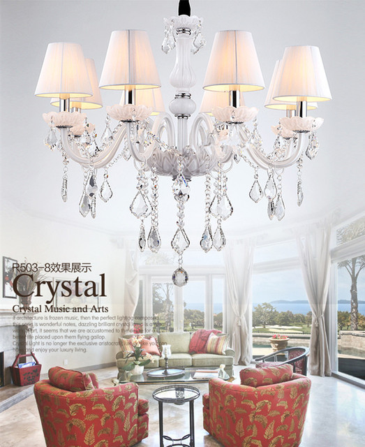 6 Arm Home Lighting Crystal Mini Chandelier Led Candle Chandeliers With Fabric Lamp Cover Modern