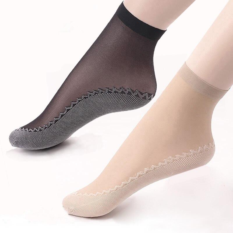 1 Pair Velvet Silk Womens Summer   Socks   Cotton Bottom Soft Non Slip Sole Massage Wicking Slip-resistant Spring Autumn   Sock   E0001