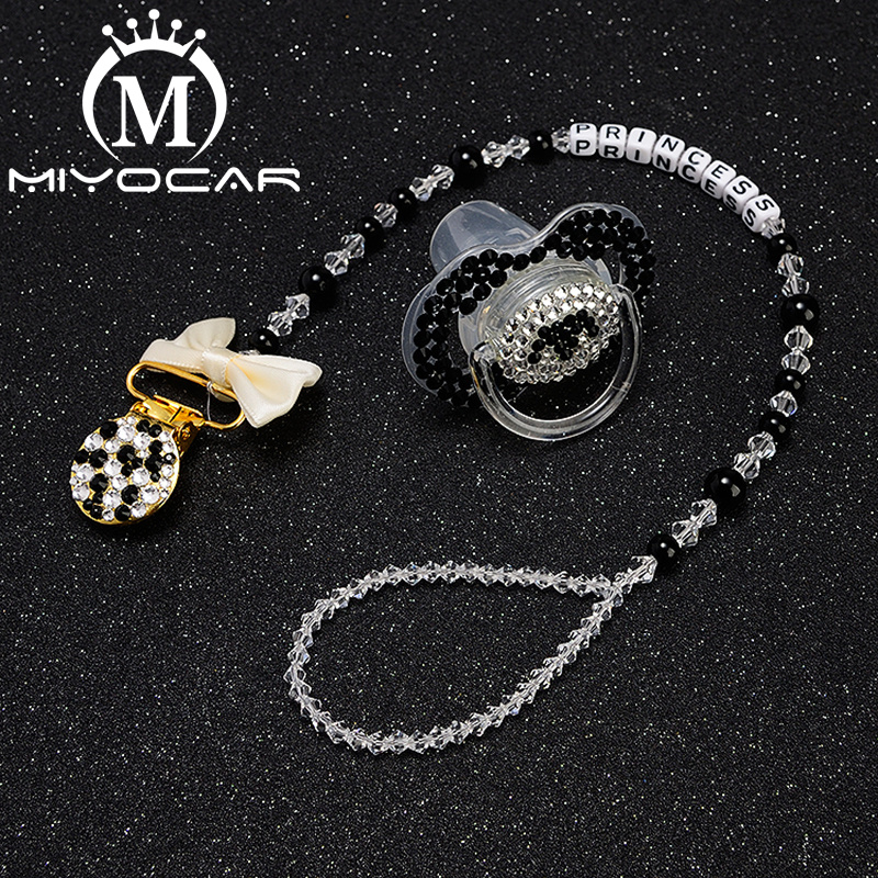 MIYOCAR bling unique pacifier clip any name personalized  with black white SP006