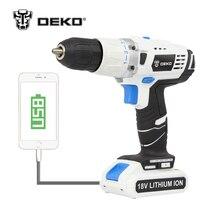 Deko 18 В DC НОВЫЙ Дизайн мобильный Питание литиевых Батарея молоток Аккумуляторная дрель Мощность инструменты воздействия электродрель