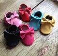 14 Colores Metálicos Genuina Mocasines De Cuero Del Bebé Primeros Caminante Zapatos de Suela de Gamuza Suave Franja Arco Zapatos Para Niñas niños Calzado