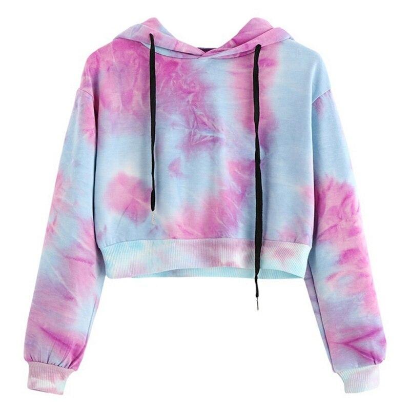 2018 Women Sweatshirt  Stylish Sweatshirt Gradient Color Crop Hoodies Cropped Long Sleeve Womens Harajuku Pullovers