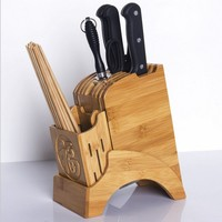 Multifunctional Holes Bamboo Knife Rack Creative Storage Rack Tool Wood Kitchen Knife Holder Knife Stand Block Supplies