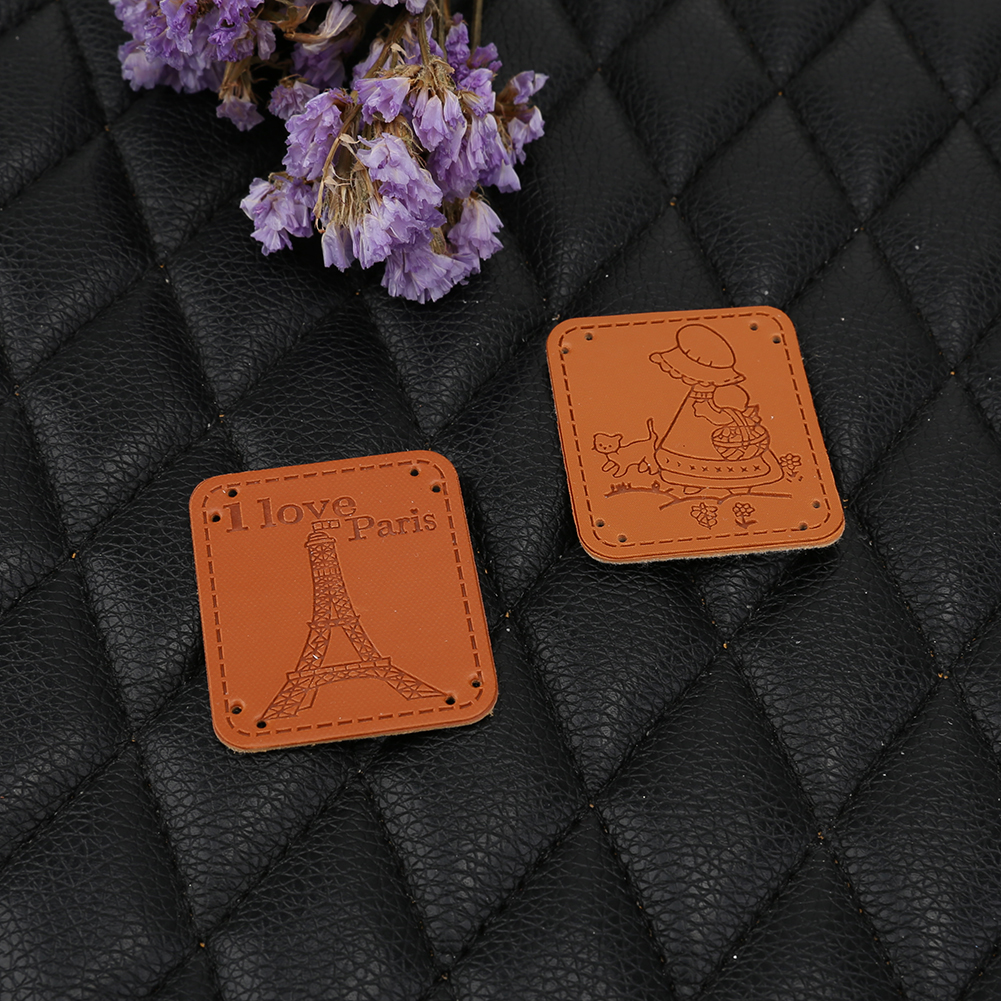 9pcs PU Leather Tags On Clothes Garment Labels Hand Sew-on Clothing Patch For Jeans Bags Shoes DIY Sewing Patches