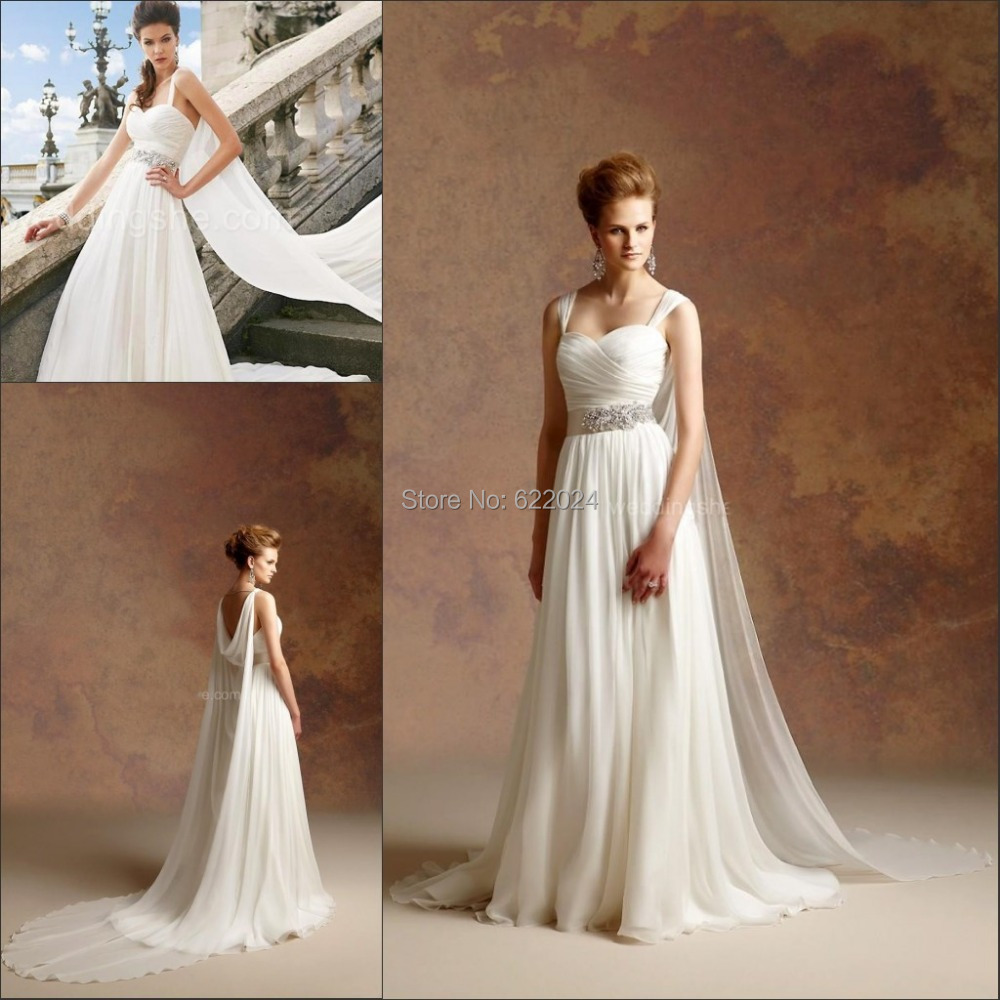 Discount Custom Vintage Greek Style A Line Detachable: Vintage Greek Style A Line Detachable Train Wedding Dress