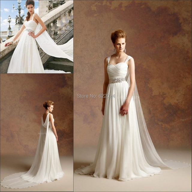 Traditional Wedding Gowns With Detachable Trains: Vintage Greek Style A Line Detachable Train Wedding Dress