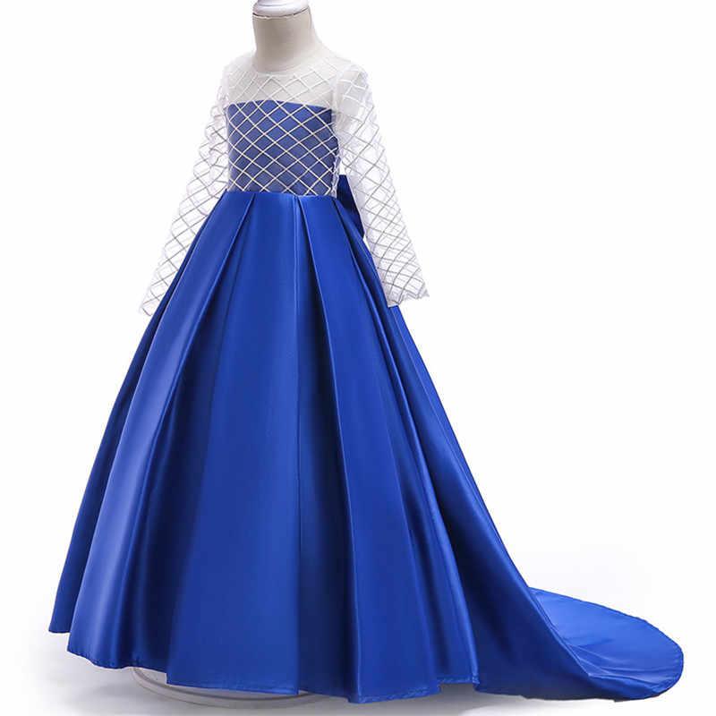 Новейший стиль, для детей от 3 до 12 лет, особенности, длинное прозрачное платье с длинными рукавами элегантное платье со шлейфом и блестками для девочек