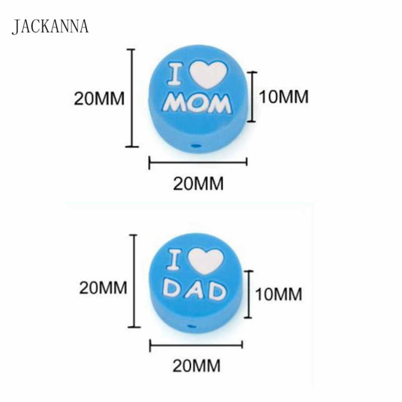 EU amo A Mamã Pai Silicone Mini Contas DIY Pulseira Acessórios de Jóias Cadeia Colar de Enfermagem Silicone Chupeta Do Bebê Mordedor