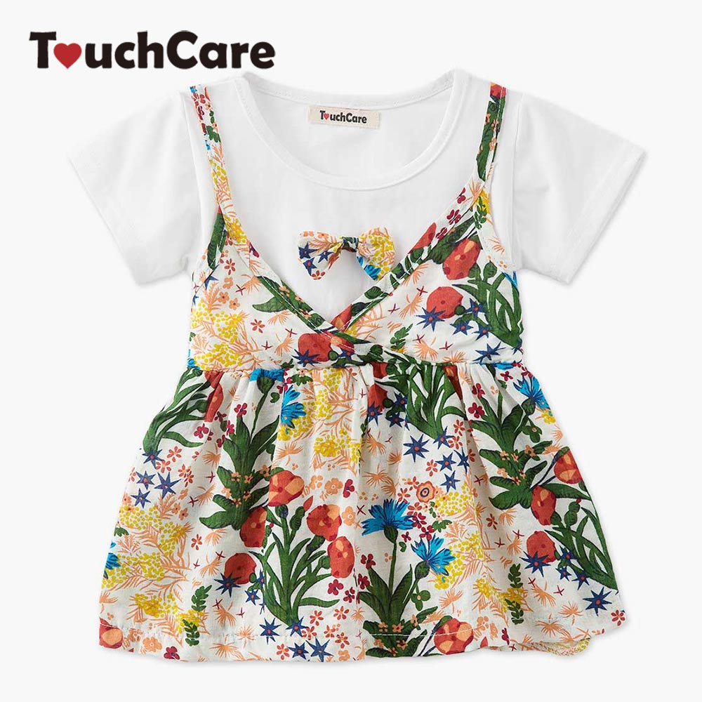Clearance Fake Two Pieces Baby Girl Dress Bowknot Short Sleeve Baby Clothes A-line Baby Christening Dress Princess Dresses