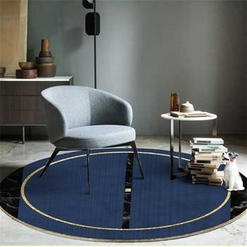 Alfombras redondas con estampado dorado en azul marino para sala de estar,...