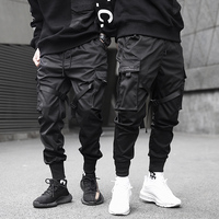 New Fashionable Darkly Stylish Men's Jogger Trousers Autumn Hip Hop Streetwear Side Pocket Ribbons Thin Sweatpants Pencil Pants