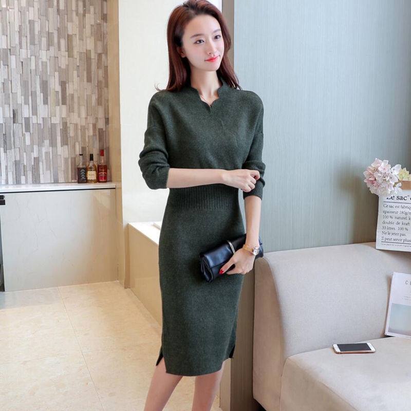 2018 Autumn Winter Womens Fashion Sexy Slim Cross V-Neck Sweater Dresses Female Long Sleeve Knitted Warm Thicken Sweater Dress 4