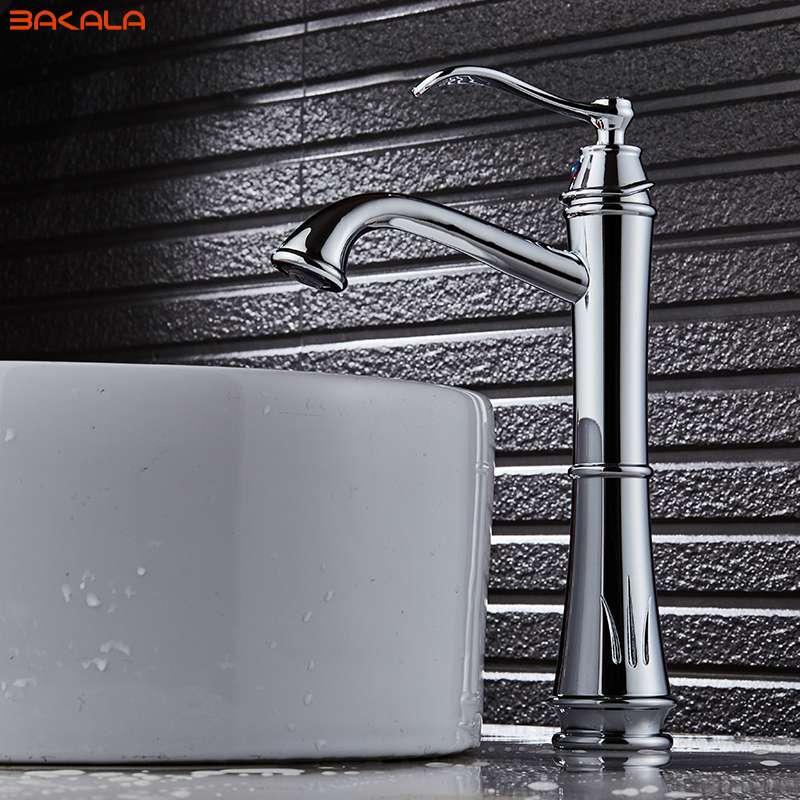 BAKALA Contemporary Bathroom Faucet Brass Basin Sink Single Handle Cold and Hot Mixer Ceramic Decoration antique bathroom vanity sink faucet single ceramic handles brass hot and cold basin mixer copper pop up drain