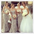 Sexy 2017 Mermaid Sweetheart Floor Length Gray Lace Long Bridesmaid Dresses Cheap Under 79 Wedding Party Dresses