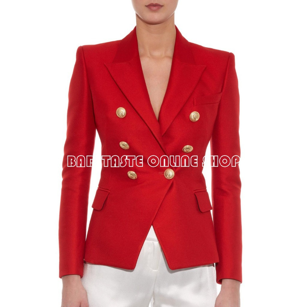 Womens Red Blazer With Gold Buttons | VCFA