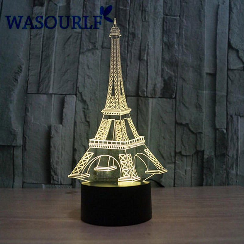 3D acrylic Eiffel Tower night light lamp charging <font><b>luna</b></font> light best christmas birthday gift round light free shipping image