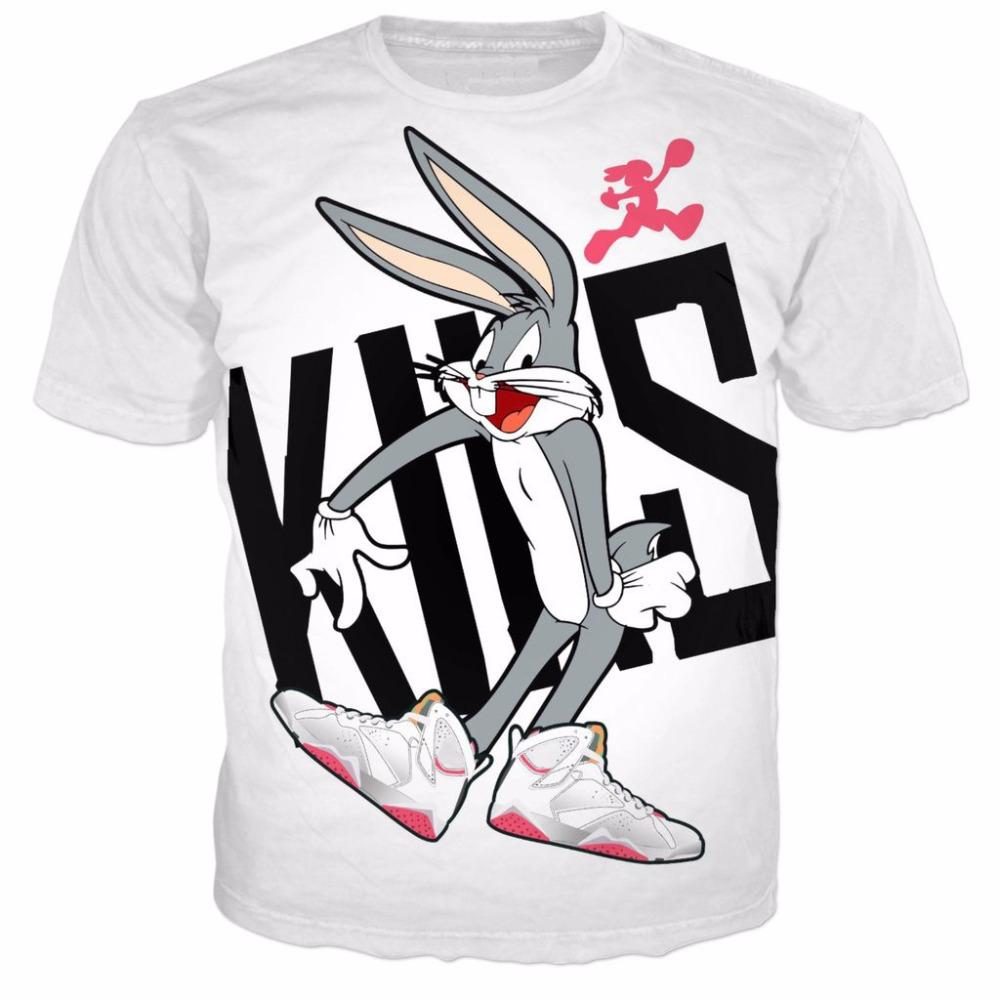 HTB1IPWtSpXXXXcaXXXXq6xXFXXXD - Men and Women's 2018 Style - Casual T-Shirts 3D Funny Cartoon Bugs Bunny Prints