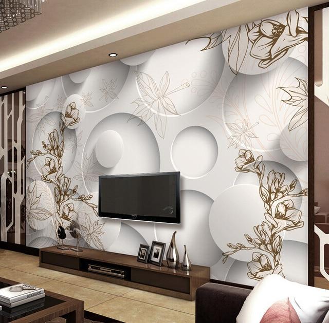 Kundenspezifische retro tapete, 3D jade orchidee und ahornblatt ...