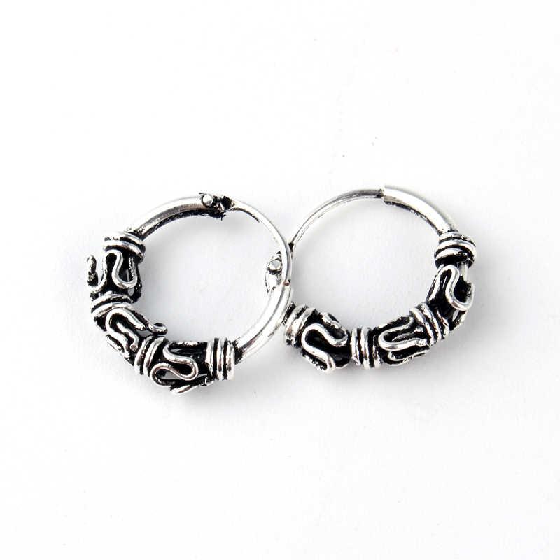 d99bdab5b ... European Tribal Vintage Silver Color Endless Circle Earrings Handmade  Small Hoop Earring Bali Wrap For Women