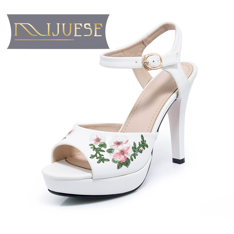 MLJUESE 2018 women sandals summer style Embroider white color peep toe platform high heels women size