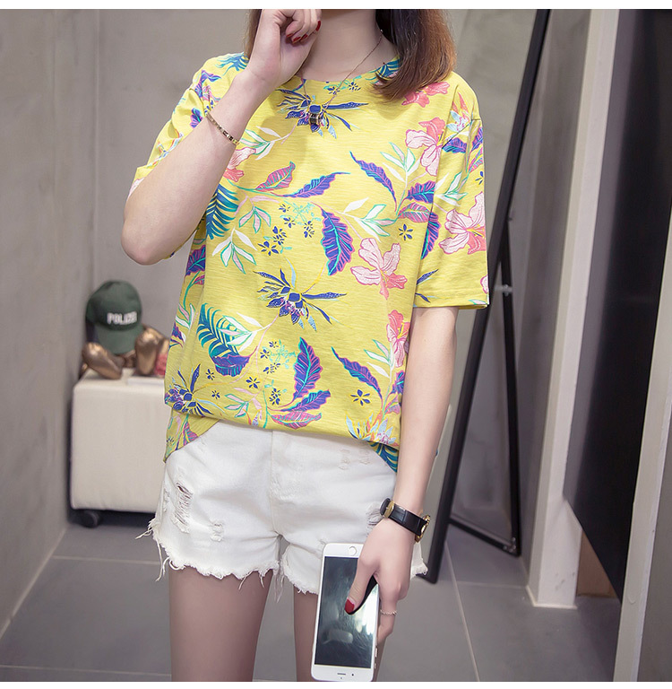 Nkandby Flower Print Summer T-shirt For Woman Fashion Casual Short sleeve Ladies Tshirt 2019 New Bamboo Plus size Basic Tops 4XL 19
