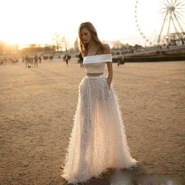 sexy Long White Prom Dress 2 Piece Velvet Feather Puffy Boho Indian ...