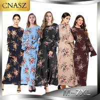 2019 Fashion Women Muslim Dress O Neck Long Plus Size 7XL Floral Dress Islamic Saudi Arabia Abaya Turkish Dubai 5 colors Dress