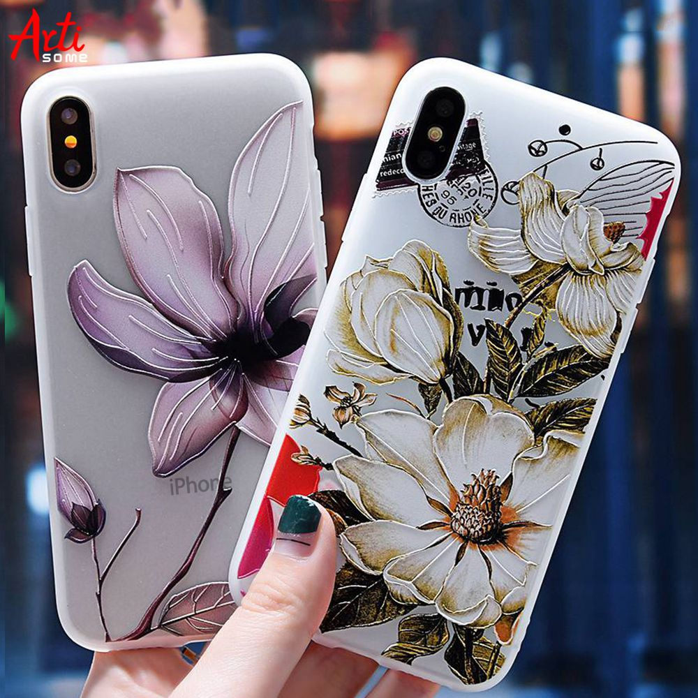 Artisome Case For iPhone X 7 6 8 Case For iPhone 8 7 6 6s Plus 5 5s SE Cute Soft Silicone Floral Patterned Cases Funda