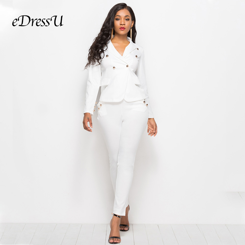 2019 Women Suits White Office Lady Two Piece Sets Blazer Jacket Fit Pants Casual Single Breasted Buttons Suits LMT-YD5079