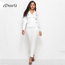 2019 Women Suits White Office Lady Two Piece Sets Blazer Jac