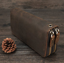 MAHEU Double Zipper Women Men Long Wallet Vintage Leather Male Clutch Purse Man Phone Card Coin 100% Genuine Leather Men Wallet(China)