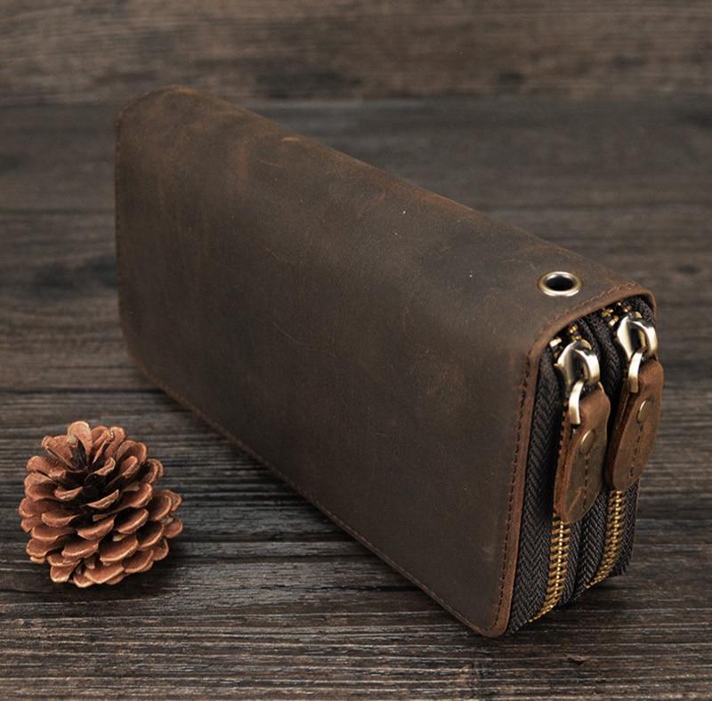 MAHEU Double Zipper Women Men Long Wallet Vintage Leather Male Clutch Purse Man Phone Card Coin 100% Genuine Leather Men Wallet