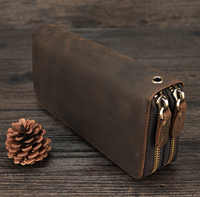 MAHEU Double Zipper Women Men Long Wallet Vintage Leather Male Clutch Purse Man Phone Card Coin 100% Genuine Leather Men Wallet