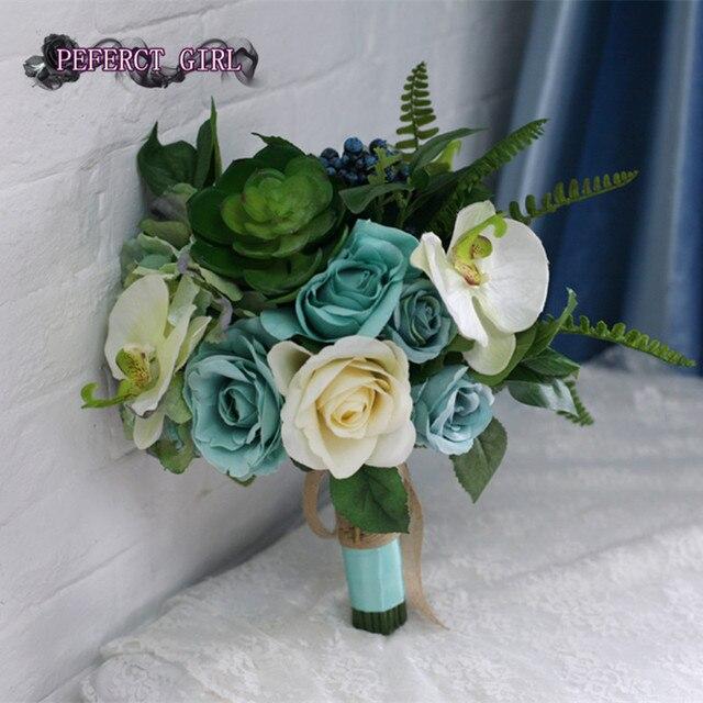 Artificial ramo verde ramo de la boda ramo de novia ramo flor mariage bruidsboeket dama de honor flores