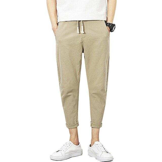 2017 Spring New Casual Cotton Linen Pants Men Solid Slim Summer Men Trousers (Asian Size M-5XL)