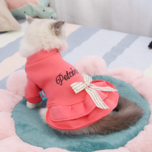 Autumn Cat Clothes Cat Dresses Coat Pets Pink /Gray Letter Sweet Cat Dress For Cats Kitten Dress XS S M L XL 8in1 cat stain and odor exterminator nm jfc s