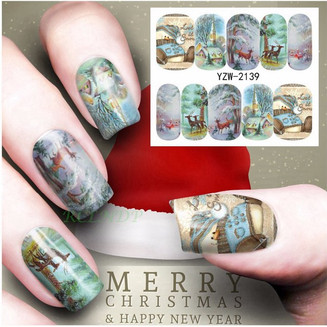 Aliexpress buy water sticker for nail art decoration slider water sticker for nail art decoration slider merry christmas snowman snow house deer nail design decal prinsesfo Images
